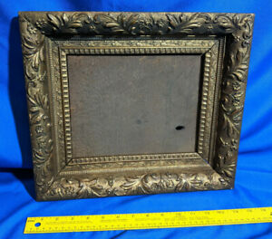 Antique Gold Gilt Carved Wood Small Picture Frame Painting Photo Mirror Vtg 14 5