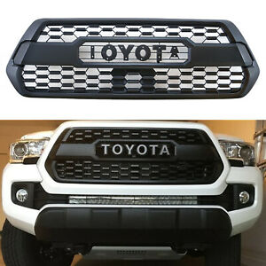 Front Grille Bumper Hood Matte Black Mesh Grill Fits For 2016 2019 Tacoma Trd