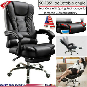 Heavy Duty High Back Big And Tall Desk Chair Executive Ergonomic Leather Black