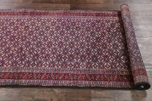 Vintage Geometric All Over Ardebil Runner Rug Hand Knotted Blue Stair Rugs 4x10