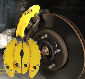 4x New Yellow Brake Car Auto Caliper Front Rear 3d Disc Cover Universal Kit Abs