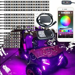 16pcs Golf Cart Underbody Glow Led Light Multi Color Accent Neon Strip Bluetooth