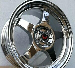 4pcs Vl 5135 15inch 7j 4x100 Alloy Wheel Cheap Rims Vacuum Chrome 3