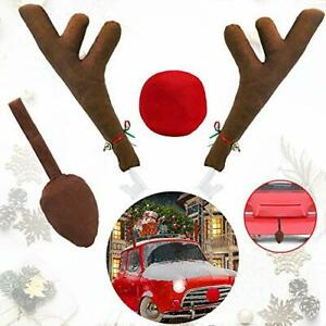 Car Reindeer Antlers Nose Decorations Window Roof Top Jingle Bell Christmas