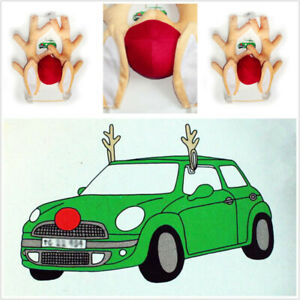 Christmas Decoration Car Rudolph Red Nose Ears Reindeer Antlers Cute Funny