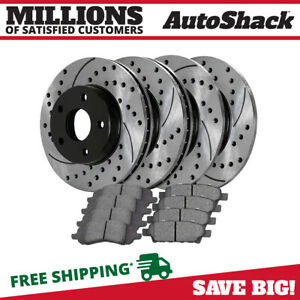 Front Rear Drilled Slotted Brake Rotors Metallic Pads For 10 12 Dodge Caliber