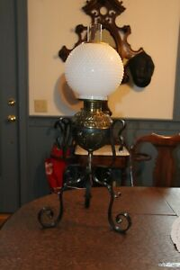 Impressive Signed Gone With The Wind Lamp Gwtw Banquet Lamp W Hob Nail Shade