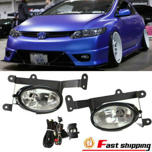 Fit 2006 2008 Honda Civic Clear Lens 2pcs Fog Light Bumper Lamp W switch harness