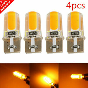 4x T10 194 168 W5w Cob Led Car Canbus Silica Width Light Bulbs Amber Yellow Lamp