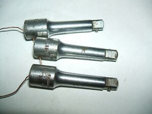 3x Snap On 1 4 Drive 2 Long Extensions Locking Type Aircraft Tool Vintage