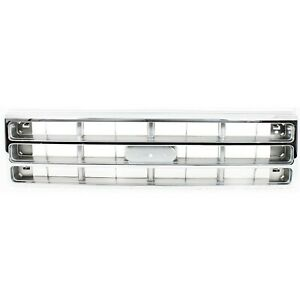 Grille For 87 88 Ford F 150 F 250 Chrome Shell W Silver Insert Plastic