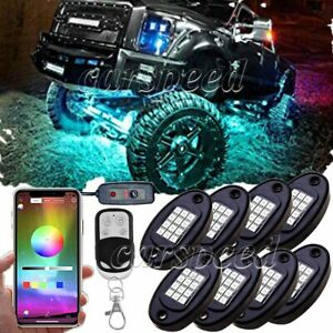 8 Pod Rgb Led Rock Light Kit Underglow Lamp Offroad Truck Bluetooth App Control