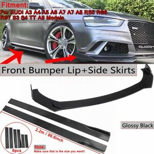 Front Bumper Lip Splitters 2 2m Side Skirt Extension For Audi A3 A4 A5 A6 A7 A7