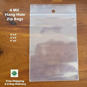 4mil Plastic Ziplock Reclosable Poly Bags With Hang Hole Jewelry 4 Mil Seal Top