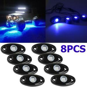 8pcs Blue Led Rock Light Underglow Lamp For Golf Cart Jeep Car Truck Shockproof