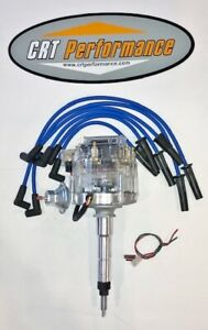 Chevy 194 216 235 I6 Straight 6 Hei Distributor Clear Cap Blue Plug Wires