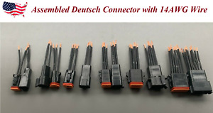 Assembled 3 Black 14 Awg Wire Deutsch 2 3 4 6 8 12 Pin Waterproof Connector