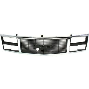 Grille 88 93 For Gmc C k F s Pickup Chrome Shell W black Insert dual Headlights