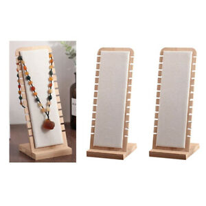 2x White Wooden Necklace Display Stand L shape Jewelry Holder Suede Surface