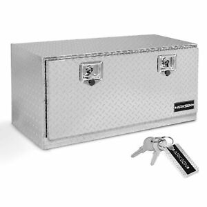 36 Silver Heavy Duty Truck Rv Aluminum Diamond Plate Tool Box W t handle Latch