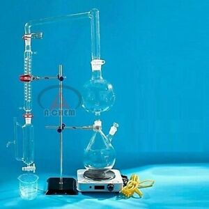 Essential Oil Steam Distillation Apparatus Kit Coil Condenser Lab