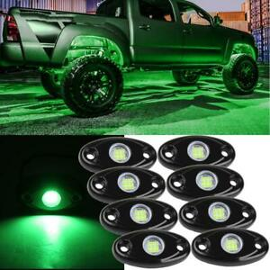 8x Green Led Rock Underglow Foot Wheel Well Light For Ford Boat Offroad Marine