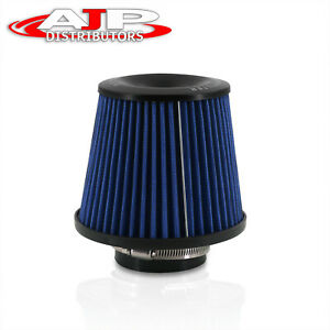 3 Round Tapered Blue Universal Air Intake Cone Filter Cold Short Ram Induction