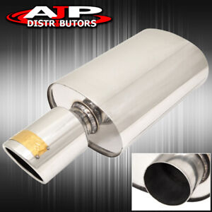 2 5 Inlet 4 Slant Tip T304 Stainless Steel Racing Oval Exhaust Muffler Jdm