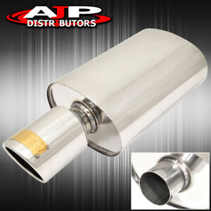 2 5 Inlet 4 Slant Tip T304 Stainless Steel Racing Oval Exhaust Muffler Center