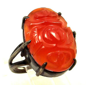 Chinese Export Red Jade Carved Plum Fruit Gemstone Sterling Silver Size 4 5 Ring