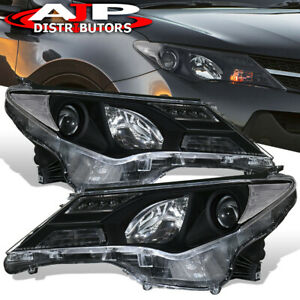 For 2013 2014 2015 Toyota Rav4 Black Projector Headlights Headlamps Clear Corner