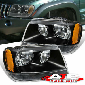 Black Amber Replacement Head Lights Lamps Pair For 1999 2004 Jeep Grand Cherokee