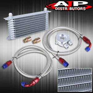 Universal 9 Row Jdm Na Turbo Super Charger Engine Oil Cooler Kit Aluminum Silver