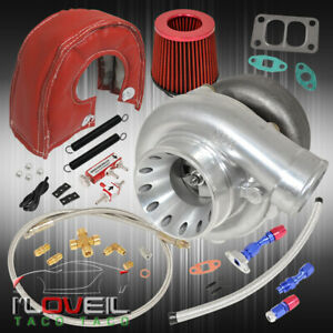 T70 Turbocharger Turbo Air Filter Heat Shield Oil Line Kit Boost Controller Red