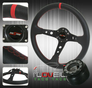 For 92 95 Civic 93 97 Del Sol Black Leather Red Accent 3 spokes Steering Wheel