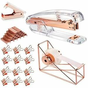 Rose Gold Office Supplies Set Stapler Tape Dispenser Remover With 1000 And