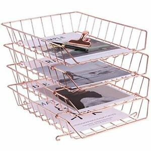 Stackable Letter Tray 4 tier Desk File Organizer For Mails Magazines And Wire