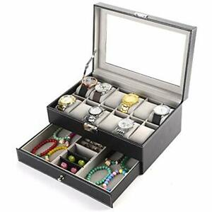 Watch Box Organizer 2 Tier Pu Leather Case Display For Jewelry Watch rings lock