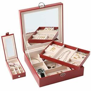 Jewelry Case Box For Women Two layer Lint Organizer With Lock 36 Compartments