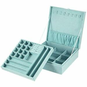 Jewelry Box 2 Layers Lint Organizer Case For Necklace Earrings Bracelets And