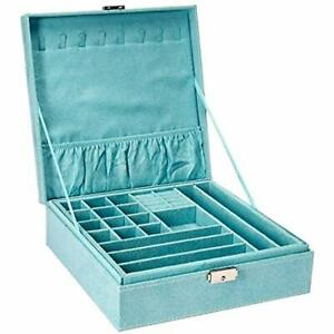 Two layer Lint Jewelry Box Organizer Display Storage Case With Lock blue Home