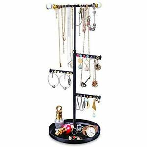 Jewelry Tree Stand Organizer Metal Necklace Display With Adjustable Height For