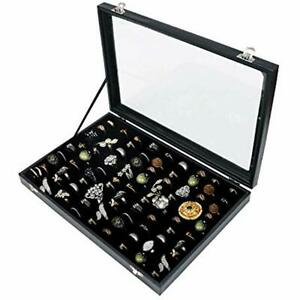 100 Slots Ring Storage Display Box With Transparent Lid Holder Showcase For
