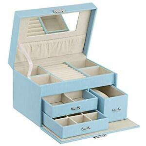 20 Section Girls Jewelry Box Organizer With Lock Portable Storage Case For Women