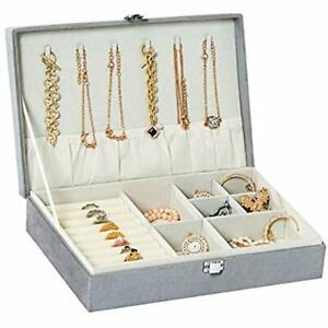Jewelry Box Organizer Necklace Box Ring Storage With Diamond Display Case For