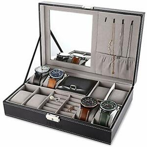 Black Jewelry Box 8 Slots Watch Organizer Storage Case With Lock And Mirror For