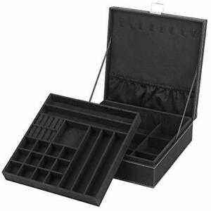 Jewelry Box Organizer Two layer Lint Display Storage Case With Lock Ideal For
