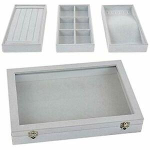 Stackable Jewelry Tray With Lid Velvet Earring Drawer Insert Display Show Case
