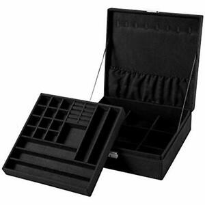 Two layer Lint Jewelry Box Organizer Display Storage Case With Lock Black Home