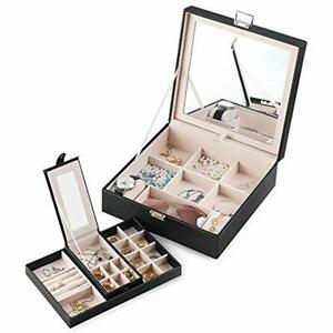 Jewelry Box With Portable Travel Case 2 Layer Display Organizer Large Movable